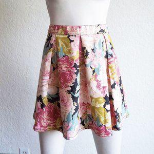 MINKPINK Big Floral Print Pleated Skater Skirt M
